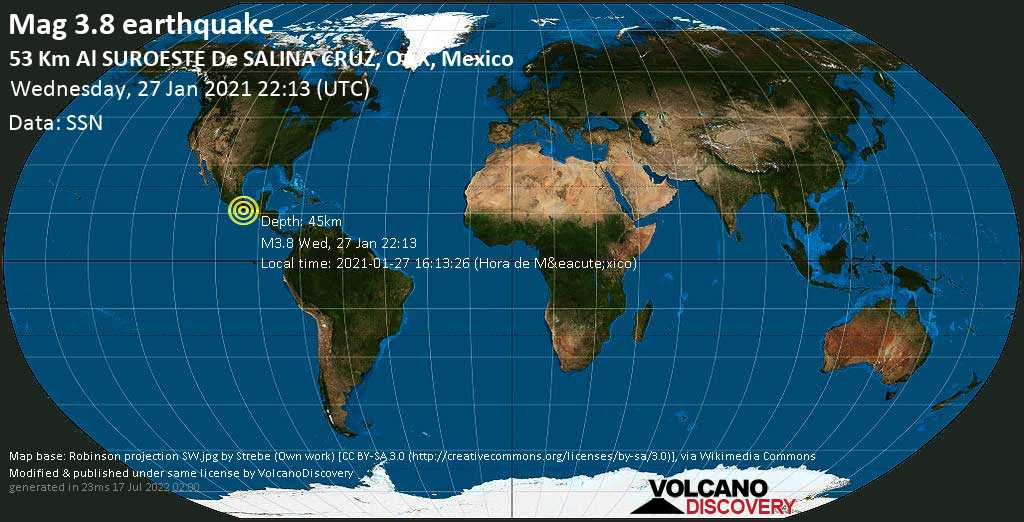 Weak mag. 3.8 earthquake - North Pacific Ocean, 53 km southwest of Salina Cruz, Oaxaca, Mexico, on 2021-01-27 16:13:26 (Hora de México)