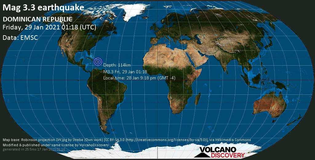 Minor mag. 3.3 earthquake - Villa Hermosa, 10.3 km northwest of La Romana, Dominican Republic, on Thursday, 28 Jan 2021 9:18 pm (GMT -4)