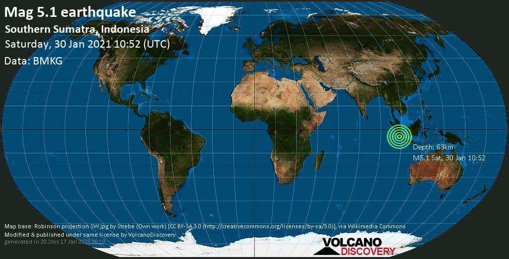 Moderate mag. 5.1 earthquake - Indian Ocean, 84 km south of Benkulu, Bengkulu, Indonesia, on Saturday, 30 Jan 2021 5:52 pm (GMT +7)