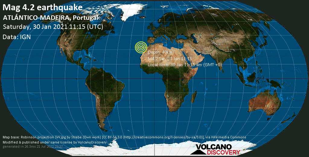 Light mag. 4.2 earthquake - North Atlantic Ocean, 78 km southeast of Funchal, Madeira, Portugal, on Saturday, 30 Jan 2021 11:15 am (GMT +0)