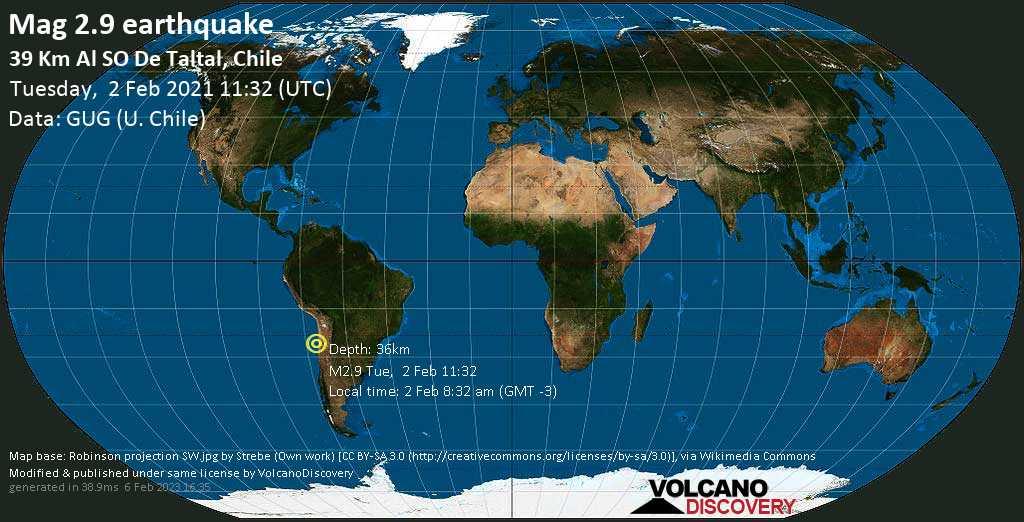 Sismo debile mag. 2.9 - South Pacific Ocean, 39 km a sud ovest da Taltal, Provincia de Antofagasta, Cile, martedí, 02 febbraio 2021