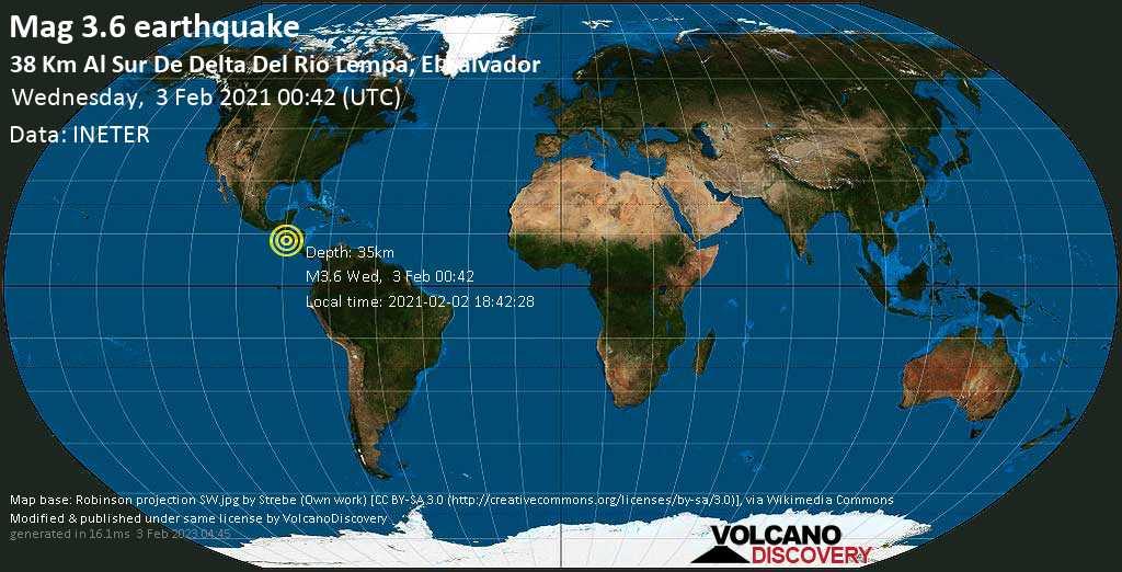 Weak mag. 3.6 earthquake - North Pacific Ocean, 43 km southwest of Puerto El Triunfo, El Salvador, on Tuesday, 2 Feb 2021 6:42 pm (GMT -6)