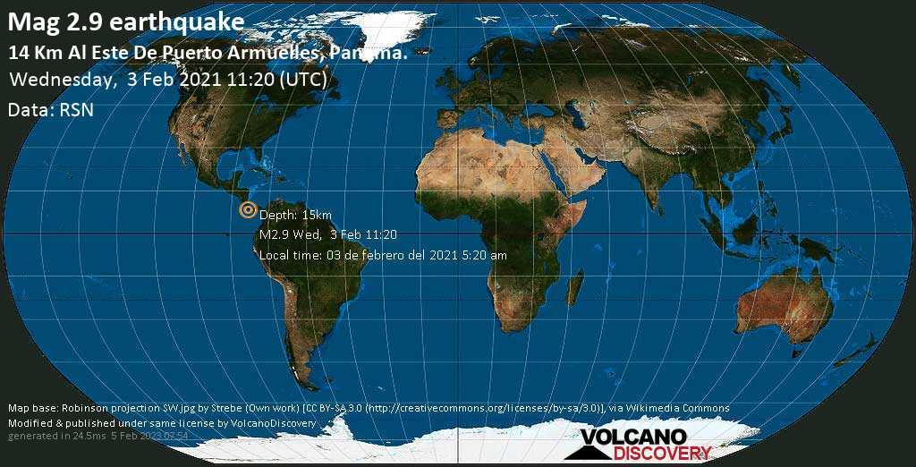 Sismo debile mag. 2.9 - North Pacific Ocean, 5.7 km a sud-est da Puerto Armuelles, Panamá, mercoledí, 03 febbraio 2021
