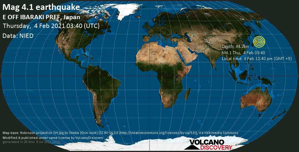 Light mag. 4.1 earthquake - North Pacific Ocean, 30 km east of Hitachi, Ibaraki, Japan, on Thursday, 4 Feb 2021 12:40 pm (GMT +9)