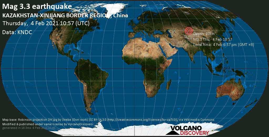 Light mag. 3.3 earthquake - Xinjiang, 99 km southeast of Sarkand, Almaty Oblysy, Kazakhstan, on Thursday, 4 Feb 2021 6:57 pm (GMT +8)