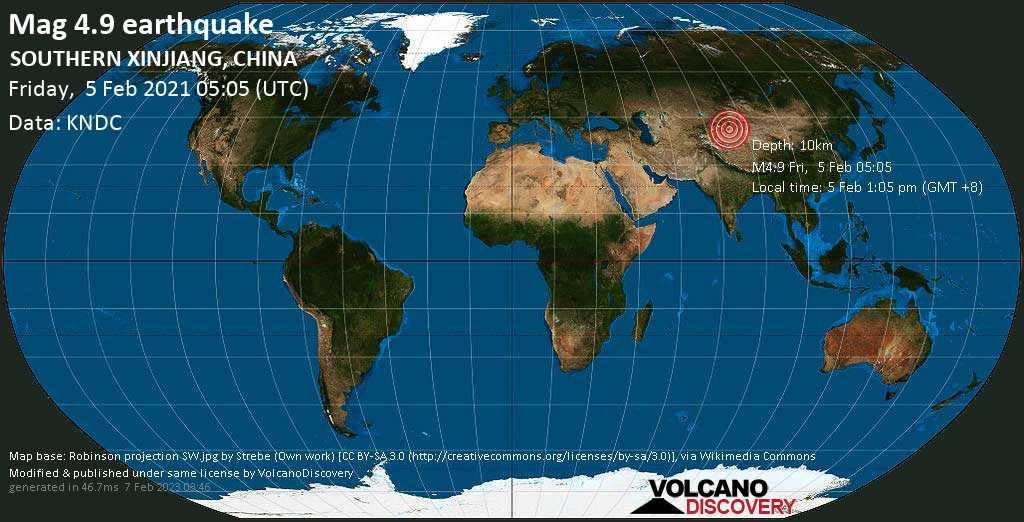 Moderate mag. 4.9 earthquake - 124 km south of Kucha, Xinjiang, China, on Friday, 5 Feb 2021 1:05 pm (GMT +8)