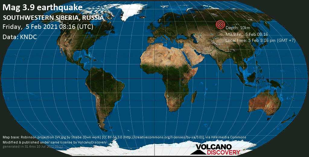 Moderate mag. 3.9 earthquake - 22 km northwest of Zheleznogorsk, Krasnoyarskiy Kray, Russia, on Friday, 5 Feb 2021 3:16 pm (GMT +7)