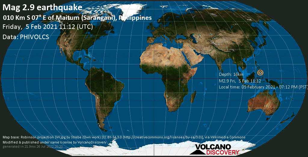 Weak mag. 2.9 earthquake - Mindanao Sea, 7.8 km south of Maitum, Philippines, on Friday, 5 Feb 2021 7:12 pm (GMT +8)