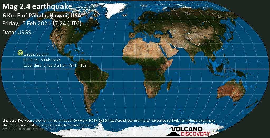 Minor mag. 2.4 earthquake - 6 Km E of Pāhala, Hawaii, USA, on Friday, 5 Feb 2021 7:24 am (GMT -10)