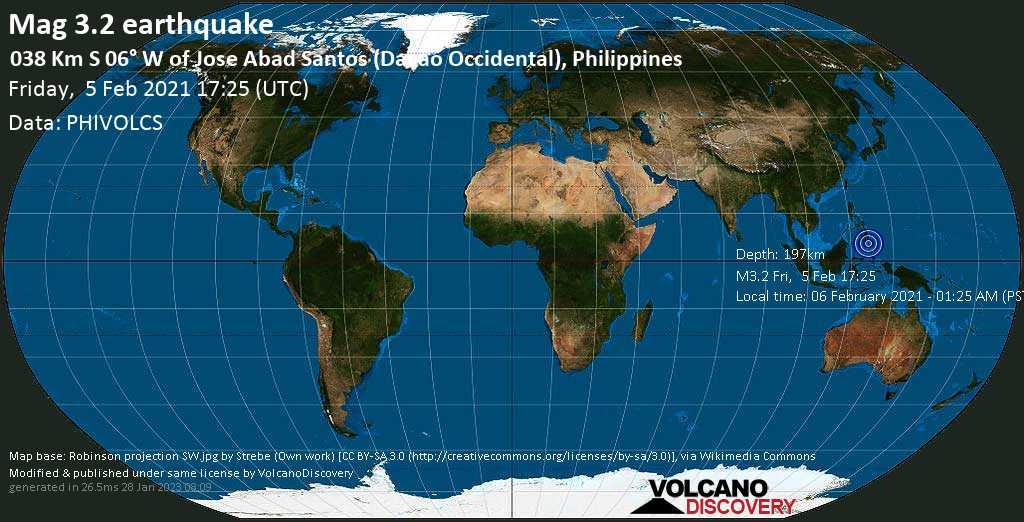 Sehr schwaches Beben Stärke 3.2 - Philippines Sea, 15 km nordöstlich von Olivan , Davao del Sur, Philippinen, am Samstag,  6. Feb 2021 um 01:25 Lokalzeit