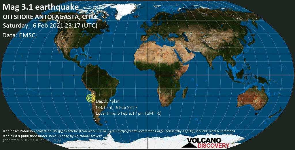 Sismo debile mag. 3.1 - South Pacific Ocean, 154 km a sud da Antofagasta, Cile, sabato, 06 febbraio 2021