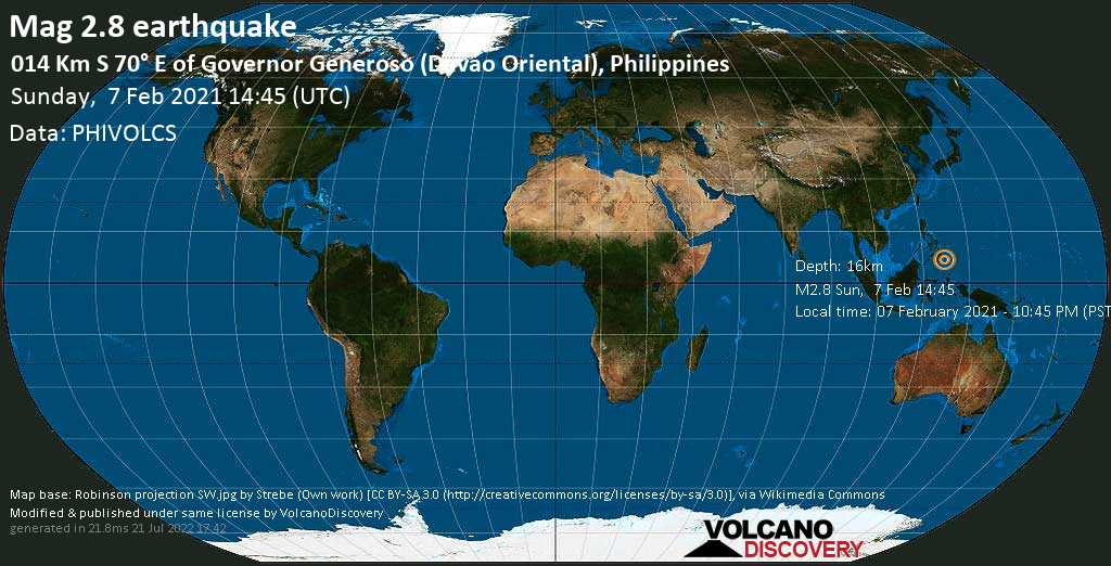 Weak mag. 2.8 earthquake - 38 km south of Mati, Davao Oriental, Philippines, on Sunday, 7 Feb 2021 10:45 pm (GMT +8)