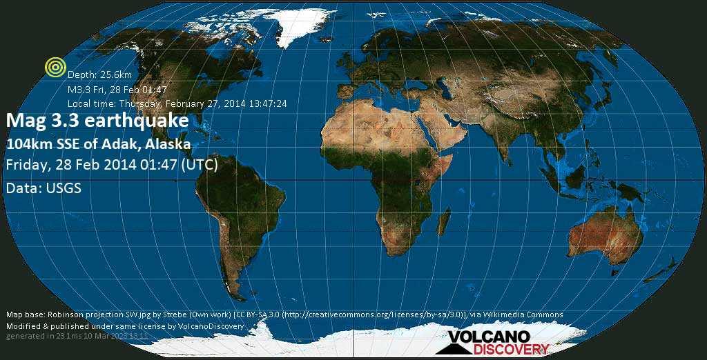 Weak mag. 3.3 earthquake - North Pacific Ocean, 64 mi southeast of Adak, Aleutians West County, Alaska, USA, on Thursday, February 27, 2014 13:47:24