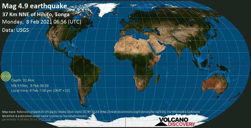Moderate mag. 4.9 earthquake - South Pacific Ocean, 38 km north of Hihifo, Niuas, Tonga, on Monday, 8 Feb 2021 7:56 pm (GMT +13)