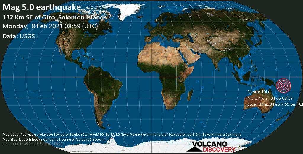 Strong mag. 5.0 earthquake - Solomon Sea, 36 km south of Tetepare Island, Solomon Islands, on Monday, 8 Feb 2021 7:59 pm (GMT +11)