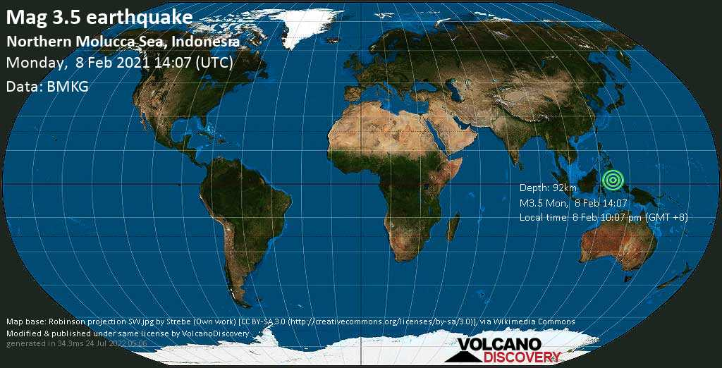 Weak mag. 3.5 earthquake - Maluku Sea, 46 km northeast of Bitung, Sulawesi Baroh, Indonesia, on Monday, 8 Feb 2021 10:07 pm (GMT +8)