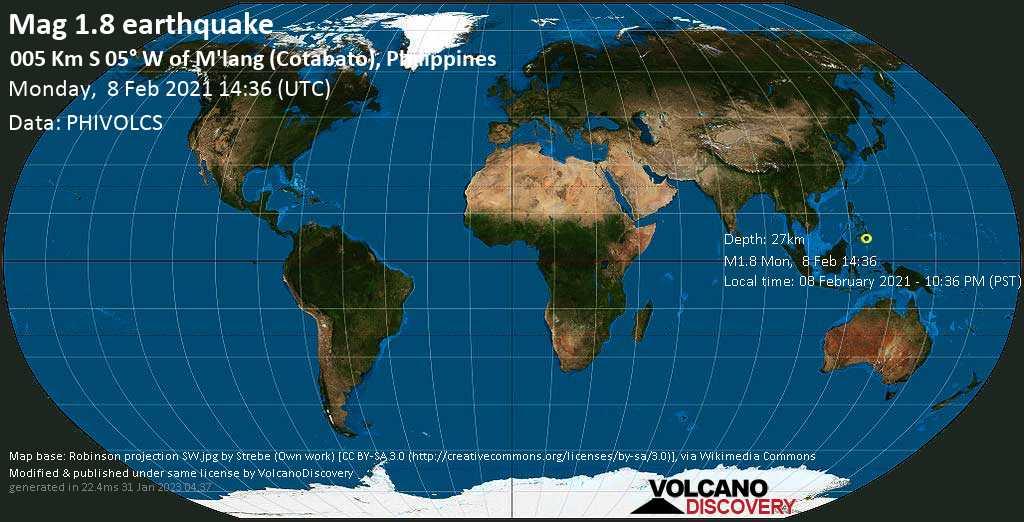 Sismo minore mag. 1.8 - 23 km a sud da Kabacan, Province of Cotabato, Soccsksargen, Filippine, lunedí, 08 febbraio 2021
