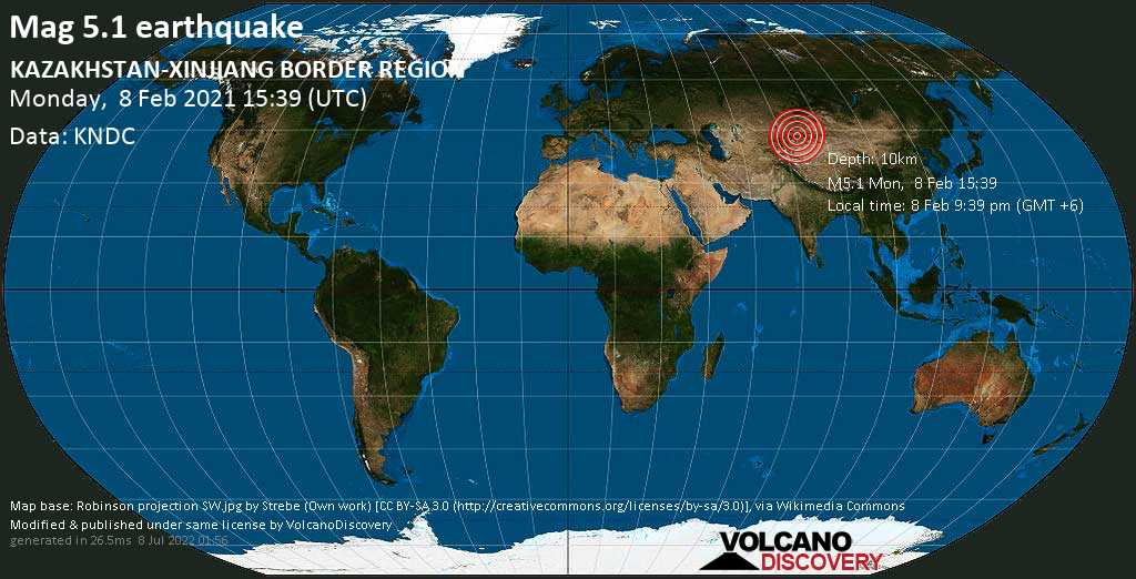 Strong mag. 5.1 earthquake - 117 km south of Zharkent, Panfilov District, Almaty Oblysy, Kazakhstan, on Monday, 8 Feb 2021 9:39 pm (GMT +6)