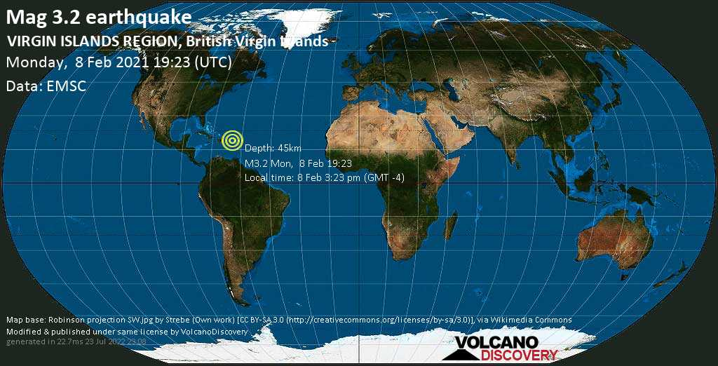 Weak mag. 3.2 earthquake - North Atlantic Ocean, 54 km north of Road Town, British Virgin Islands, on Monday, 8 Feb 2021 3:23 pm (GMT -4)