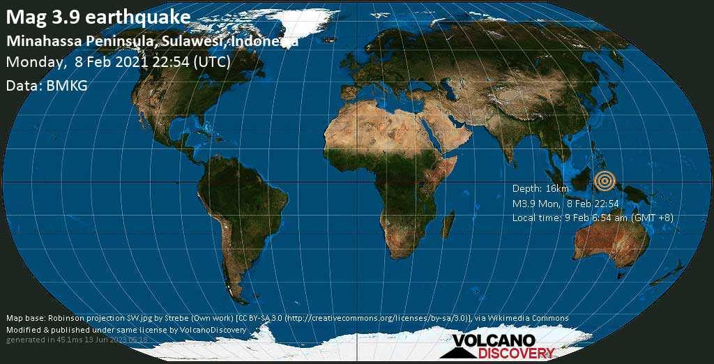 Light mag. 3.9 earthquake - Maluku Sea, 130 km south of Manado, Sulawesi Baroh, Indonesia, on Tuesday, 9 Feb 2021 6:54 am (GMT +8)