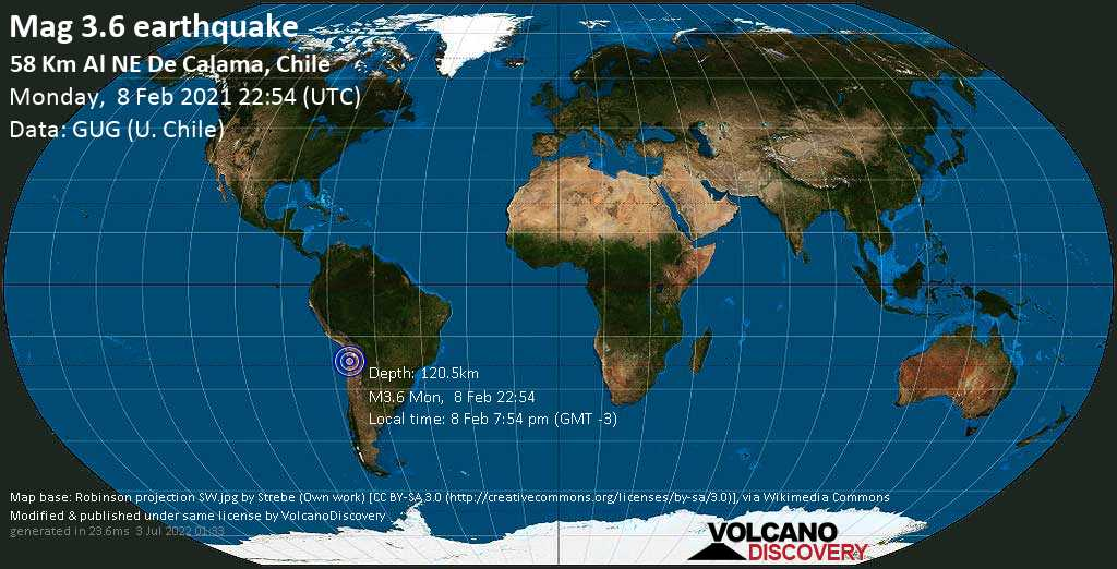 Sismo muy débil mag. 3.6 - 56 km NNE of Calama, Provincia de El Loa, Antofagasta, Chile, lunes, 08 feb. 2021