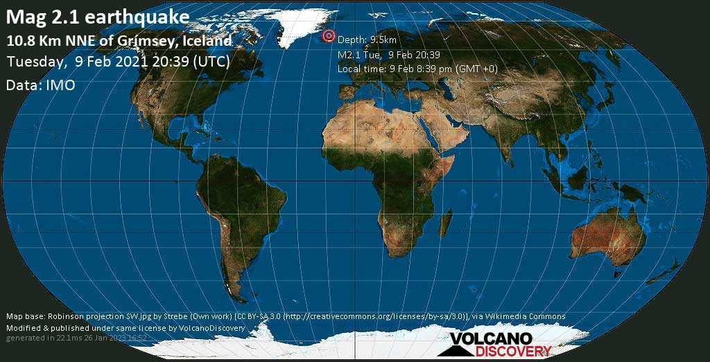 Weak mag. 2.1 earthquake - 10.8 Km NNE of Grímsey, Iceland, on Tuesday, 9 Feb 2021 8:39 pm (GMT +0)