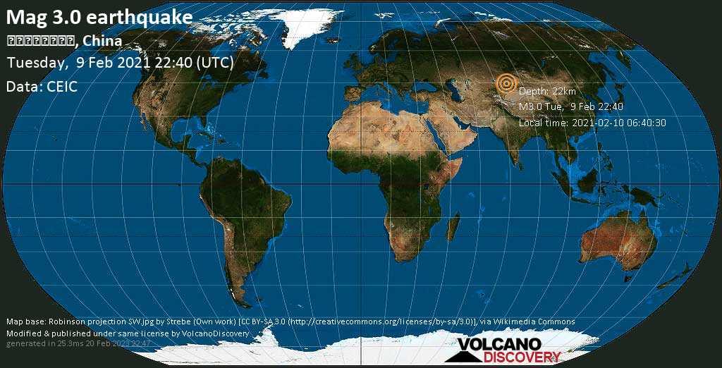 Weak mag. 3.0 earthquake - Kazakhstan, 40 km north of Huocheng, Ili Kazak Zizhizhou, Xinjiang, China, on Wednesday, 10 Feb 2021 6:40 am (GMT +8)