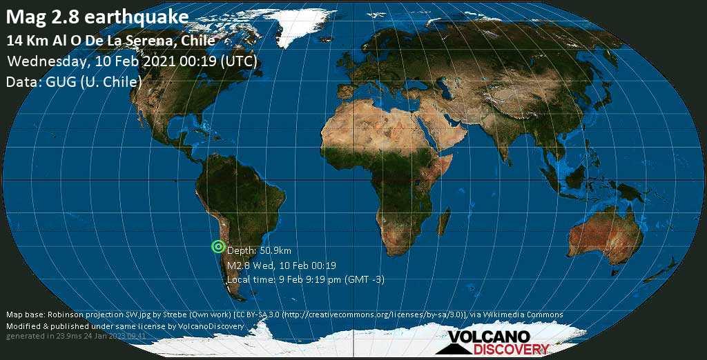 Sismo muy débil mag. 2.8 - South Pacific Ocean, 15 km W of La Serena, Provincia de Elqui, Coquimbo Region, Chile, Wednesday, 10 Feb. 2021