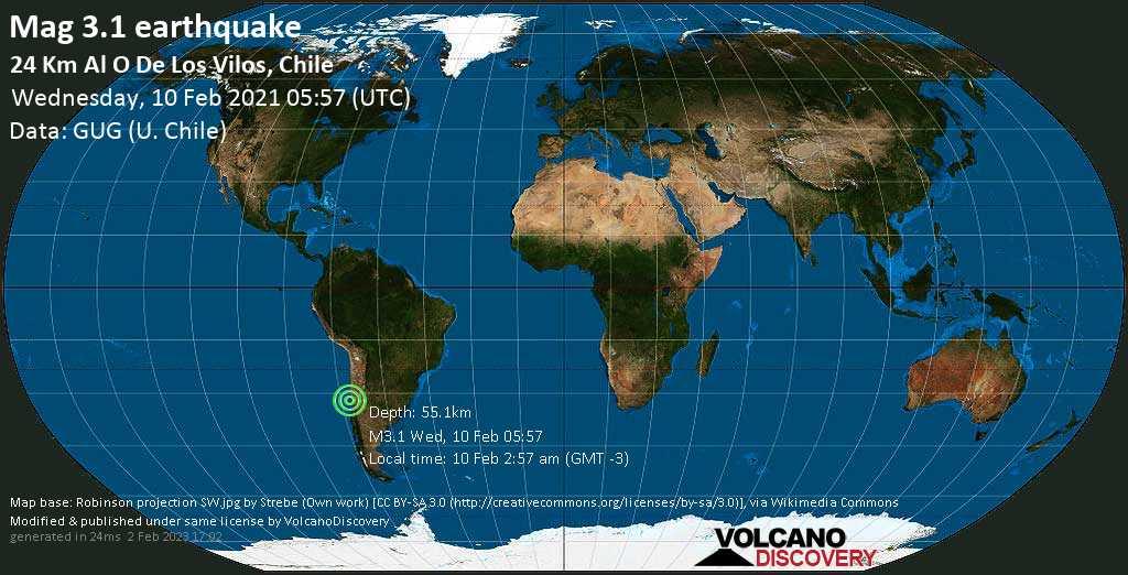 Sismo debile mag. 3.1 - South Pacific Ocean, 62 km a sud ovest da Illapel, Provincia de Choapa, Coquimbo Region, Cile, mercoledì, 10 febbraio 2021