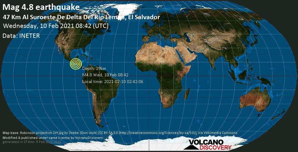 Terremoto moderado mag. 4.8 - North Pacific Ocean, 90 km S of San Salvador, El Salvador, miércoles, 10 feb. 2021
