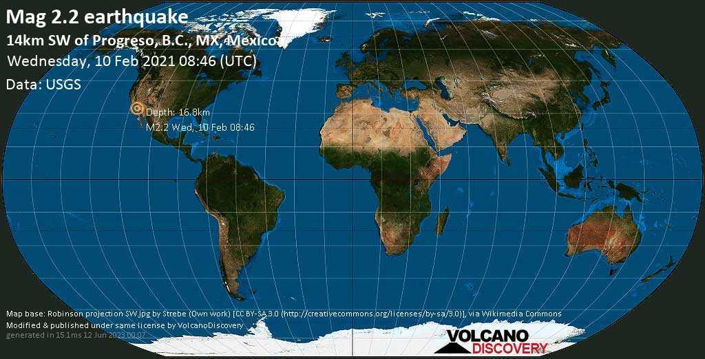Minor mag. 2.2 earthquake - 14km SW of Progreso, B.C., MX, Mexico, on Wednesday, 10 Feb 2021 12:46 am (GMT -8)