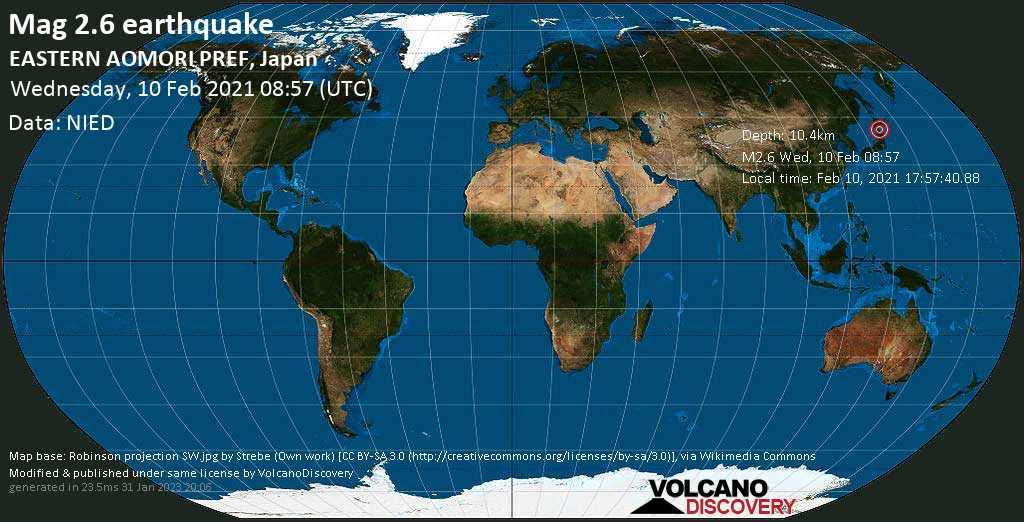Weak mag. 2.6 earthquake - 6.6 km south of Aomori, Japan, on Wednesday, 10 Feb 2021 5:57 pm (GMT +9)