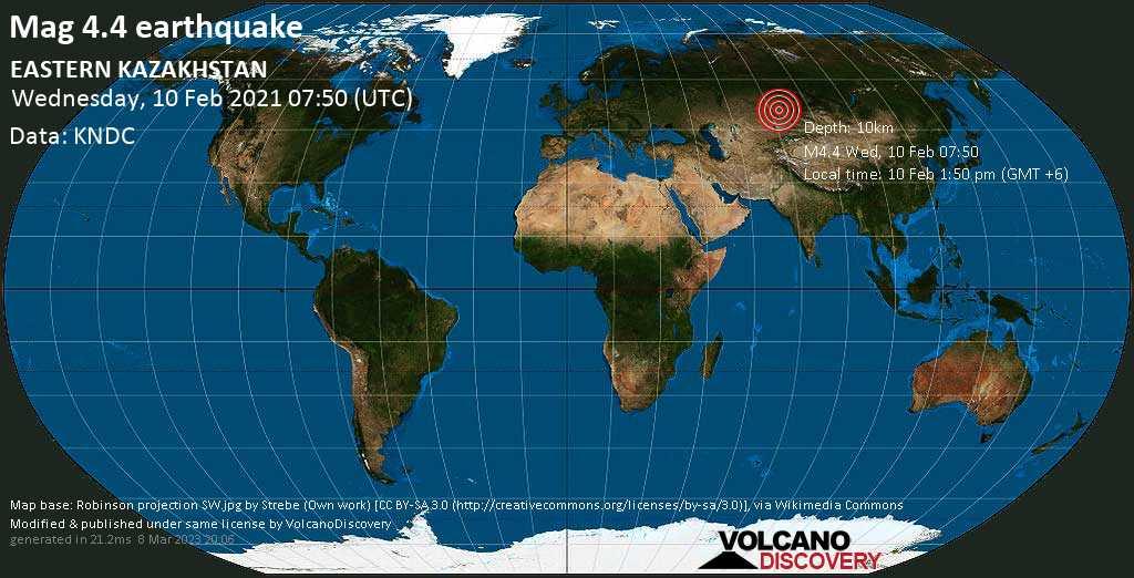Moderate mag. 4.4 earthquake - 233 km south of Pavlodar, Kazakhstan, on Wednesday, 10 Feb 2021 1:50 pm (GMT +6)