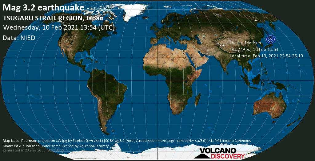 Minor mag. 3.2 earthquake - Japan Sea, 29 km north of Mutsu, Aomori, Japan, on Wednesday, 10 Feb 2021 10:54 pm (GMT +9)