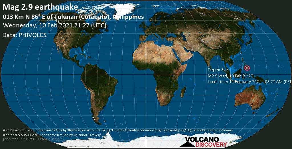 Light mag. 2.9 earthquake - 22 km southwest of Kidapawan, Province of Cotabato, Soccsksargen, Philippines, on Thursday, 11 Feb 2021 5:27 am (GMT +8)