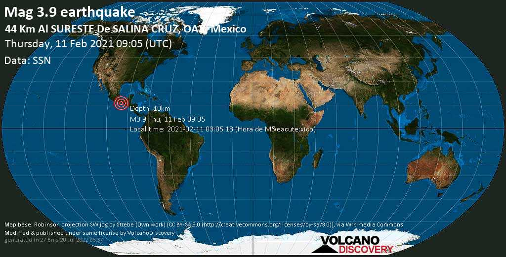 Moderate mag. 3.9 earthquake - North Pacific Ocean, 43 km southeast of Salina Cruz, Oaxaca, Mexico, on 2021-02-11 03:05:18 (Hora de México)