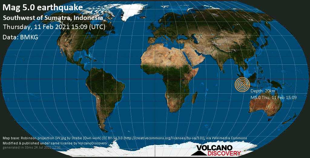 Moderate mag. 5.0 earthquake - Indian Ocean, 224 km south of Bengkulu, Indonesia, on Thursday, 11 Feb 2021 10:09 pm (GMT +7)