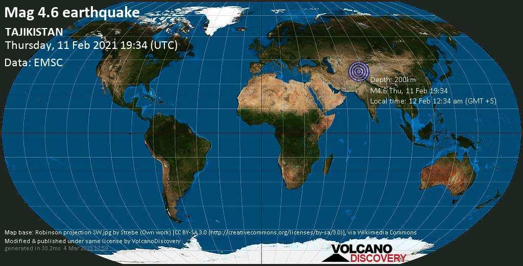 Light mag. 4.6 earthquake - 76 km northeast of Ishqoshim, Ishkoshim, Gorno-Badakhshan, Tajikistan, on Friday, 12 Feb 2021 12:34 am (GMT +5)