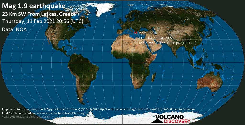 Minor mag. 1.9 earthquake - Ionian Sea, 23 km southwest of Lefkada, Ionian Islands, Greece, on Thursday, 11 Feb 2021 10:56 pm (GMT +2)