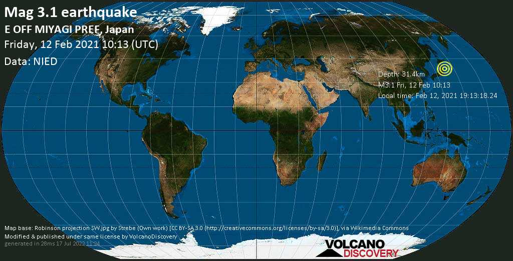 Weak mag. 3.1 earthquake - North Pacific Ocean, 70 km east of Ishinomaki, Miyagi, Japan, on Friday, 12 Feb 2021 7:13 pm (GMT +9)