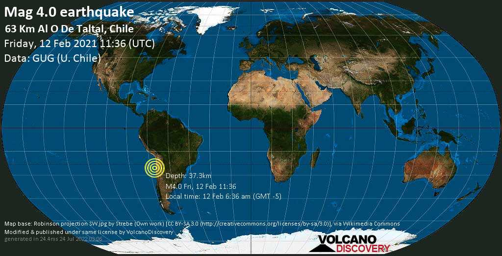 Light mag. 4.0 earthquake - South Pacific Ocean, 63 km west of Taltal, Provincia de Antofagasta, Chile, on Friday, 12 Feb 2021 6:36 am (GMT -5)