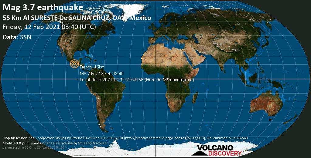 Terremoto leve mag. 3.7 - North Pacific Ocean, 55 km SE of Salina Cruz, Oaxaca, Mexico, Friday, 12 Feb. 2021