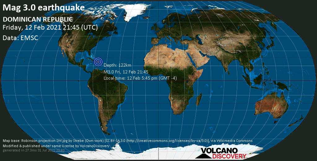 Minor mag. 3.0 earthquake - Bayaguana, Provincia de Monte Plata, 35 km northeast of Santo Domingo, Dominican Republic, on Friday, 12 Feb 2021 5:45 pm (GMT -4)