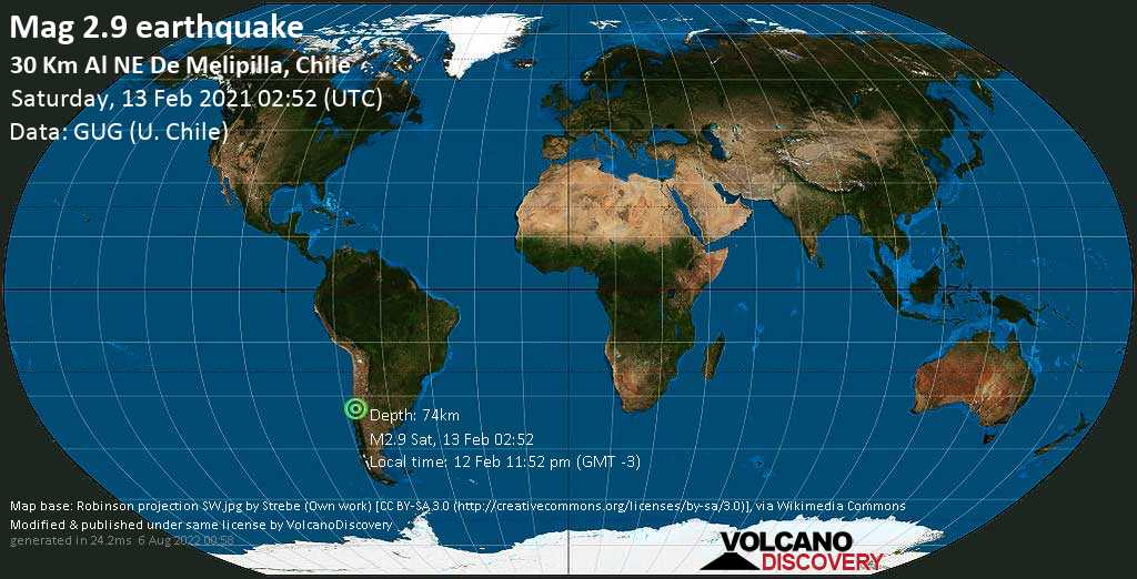 Minor mag. 2.9 earthquake - Provincia de Melipilla, 41 km west of Santiago de Chile, Provincia de Santiago, Santiago Metropolitan, Chile, on Friday, 12 Feb 2021 11:52 pm (GMT -3)
