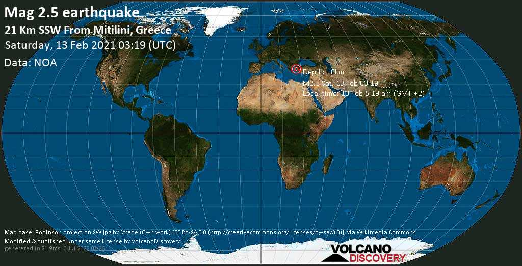 Sismo debile mag. 2.5 - Mare Egeo, 21 km a sud da Mitilene, Lesvos, Egeo Settentrionale, Grecia, sábbato, 13 febbraio 2021