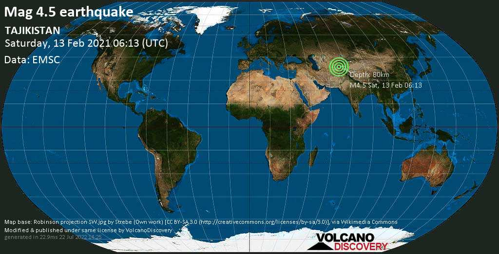Light mag. 4.5 earthquake - 48 km north of Kŭlob, Viloyati Khatlon, Tajikistan, on Saturday, 13 February 2021 at 06:13 (GMT)