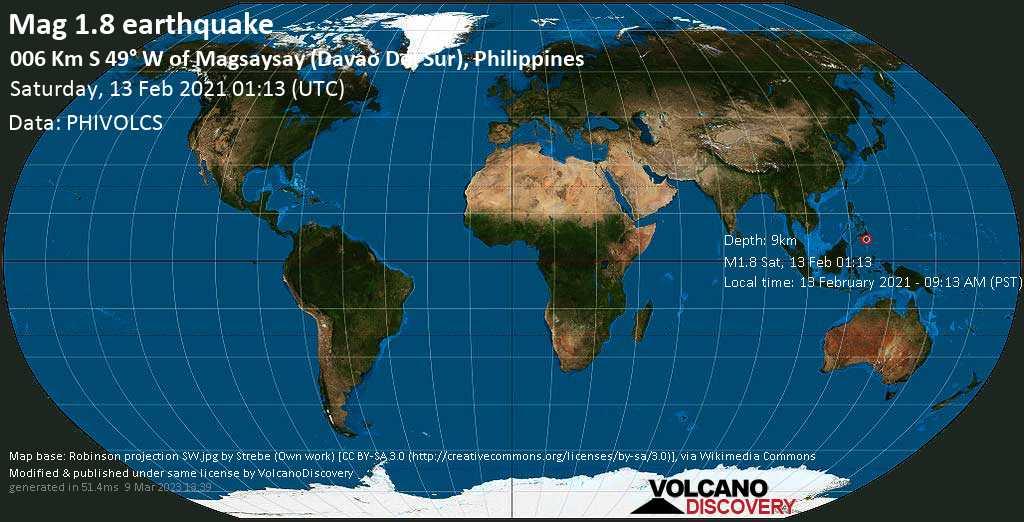 Sehr schwaches Beben Stärke 1.8 - 9.6 km südwestlich von Magsaysay, Province of Davao del Sur, Philippinen, am Samstag, 13. Feb 2021 um 01:13 GMT