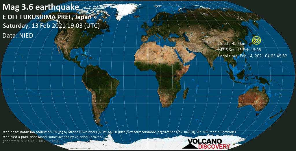 Weak mag. 3.6 earthquake - North Pacific Ocean, 98 km southeast of Sendai, Miyagi, Japan, on Sunday, 14 Feb 2021 4:03 am (GMT +9)