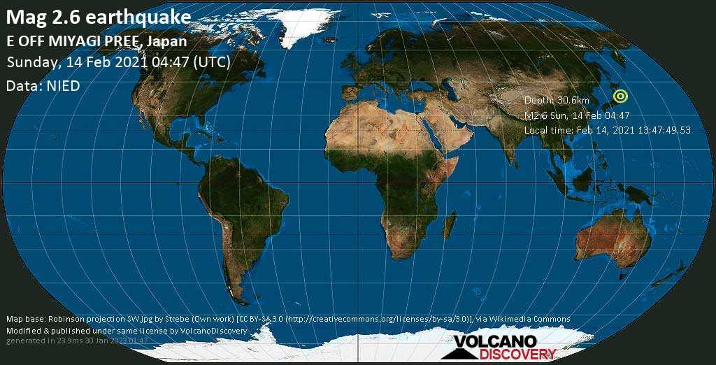 Minor mag. 2.6 earthquake - North Pacific Ocean, 79 km east of Ishinomaki, Miyagi, Japan, on Sunday, 14 Feb 2021 1:47 pm (GMT +9)