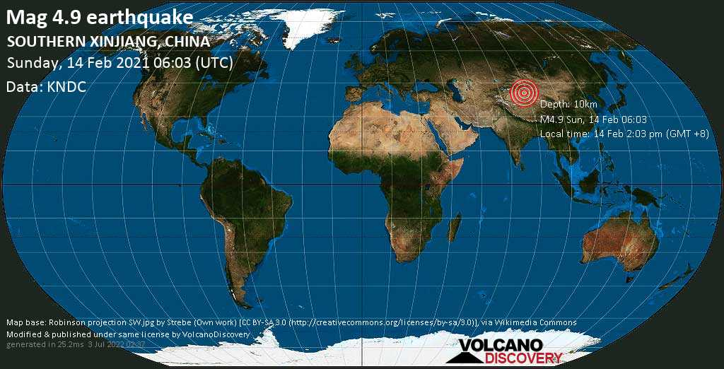Moderate mag. 4.9 earthquake - 212 km southeast of Korla, Xinjiang, China, on Sunday, 14 Feb 2021 2:03 pm (GMT +8)